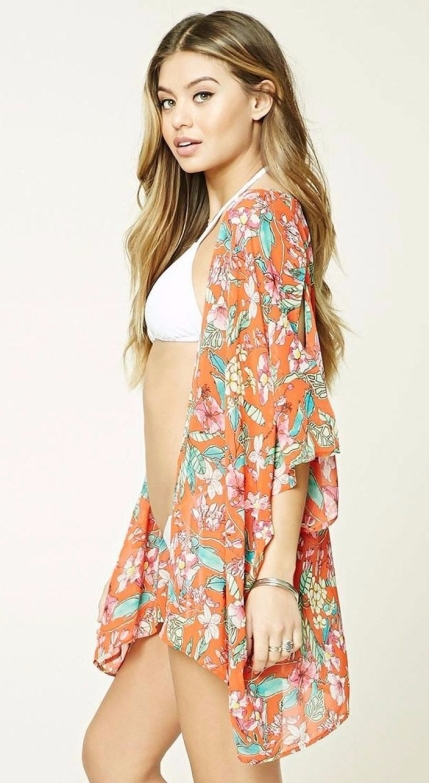 Forever 21-Women's Orange Floral Print Swim Cover-up