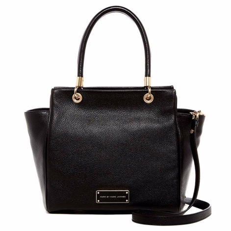 Marc By Marc Jacobs- Black Bentley Leather Winged Double Shoulder Bag