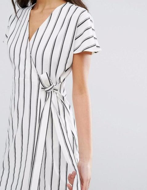 Vero Moda-Women's Striped Wrap Tea Dress2