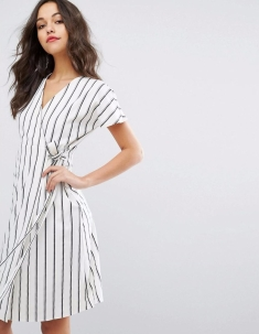 Vero Moda-Women's Striped Wrap Tea Dress3
