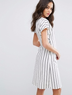 Vero Moda-Women's Striped Wrap Tea Dress4