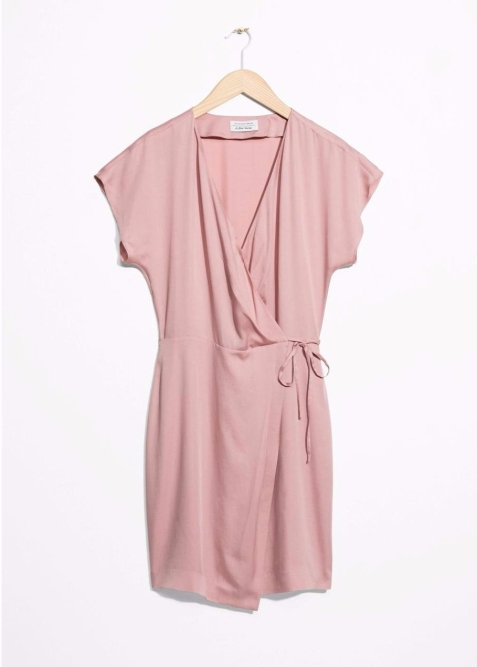 &Other Stories Women's Pink Wrap Dress2